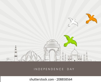 Indian famous monuments sketch Qutub Minar, Lotus Temple, India Gate and Taj Mahal with flying pigeons on grey rays background.