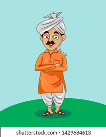 indian farmer cartoon character vector illustration