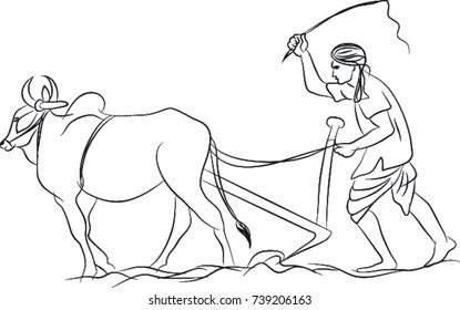 Indian farmer line art