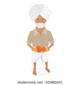 Indian farmer man. Vector character isolated on white background