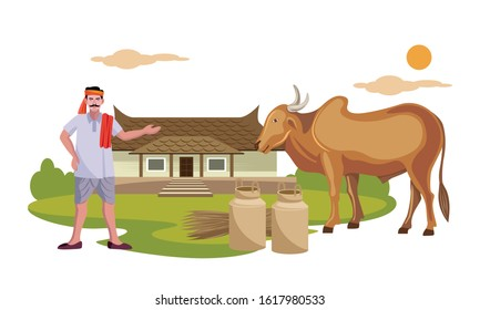 indian farmer, milkman with indian cow in front of rural house vector illustration