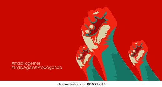 Indian farmer protest poster. three hand fists are denoting protest against the propaganda of Indian farmer protest. Agricultural bill. Vector illustration.