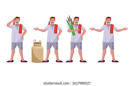 indian farmer standing different poses vector illustration