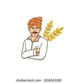 Indian Farmer Vector Illustration