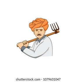 Indian Farmer vector logo working in field