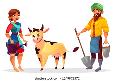 Indian farmers and cattle vector illustration of man and woman in sari with cow. Cartoon farming people with spade and bucket for harvest planting and watering can
