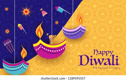 Indian Festival celebration background with flat style fire crackers and stylish oil lamps hang on blue and yellow background. Can be used as greeting card design.