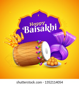 Indian festival celebration element on yellow and purple background, Happy Baisakhi poster or flyer design.