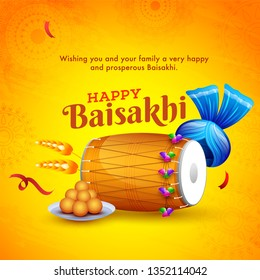 Indian festival celebration element and  wishing text on yellow background,  Happy Baisakhi poster or flyer design.