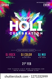 Indian festival of color holi party template or flyer design with time and venue details.