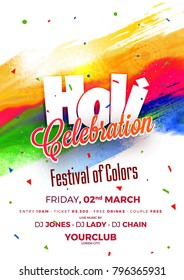 Indian Festival of Colours, Happy Holi celebration design.
