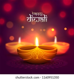 Indian Festival Diwali celebration with illustration of realistic oil lamp on blurred bokeh background can be used as greeting card design.