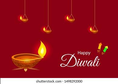 Indian Festival Diwali or Deepawali Greeting Card Background ! Happy Diwali !