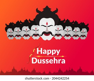 Indian festival Dussehra and Vijayadashmi greeting with golden bow and arrow. Decorative festive background with silhouette of Ravana.