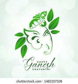 indian festival of happy ganesh chaturthi eco leaves background