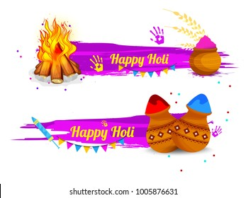 Indian Festival Of Happy Holi colorful Banner Background.