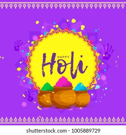Indian Festival Of Happy Holi colorful Background Illustration.