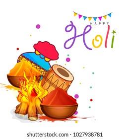 Indian Festival Of Happy Holi colorful Background Illustration.