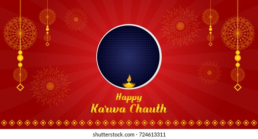 indian festival of karwa chauth celebrations banner and background with creative concept. (Translation: Karwa  means earthen pot, chauth means fourth)