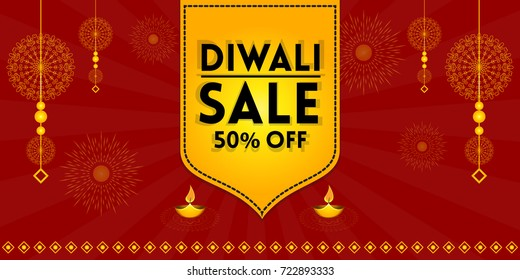 Indian festive sale vector illustration for banners, posters and background with creative traditional elements. (Translation: Happy Diwali)