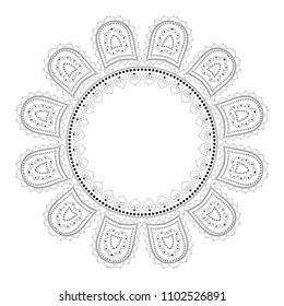 Indian Filigree Dotted Ornament - Vector Mehendi Round Lotus Frame
