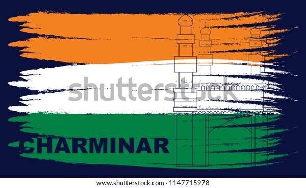 Indian flag along with indian monuments  background image for Indian independence day