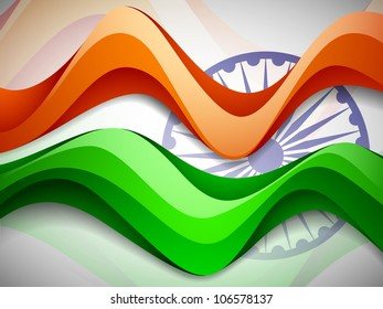 Indian flag background with wave pattern. EPS 10.