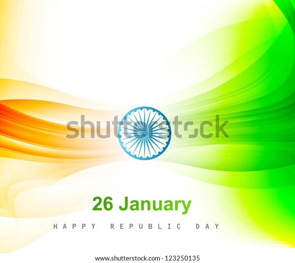 Indian Flag Color Background Wave Republic Stock Vector (Royalty