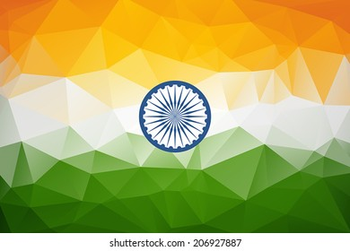 Indian Flag in geometric style. Vector illustration concept Indian Independence Day celebrations.