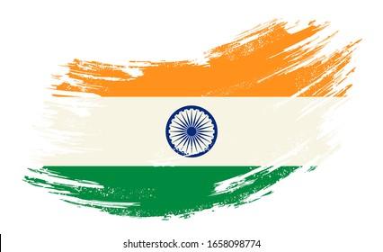 Indische Flagge grunge, pinselhintergrund. Vektorillustration.