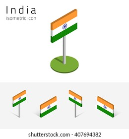 Indian flag (Republic of India), vector set of isometric flat icons, 3D style, different views. 100% editable design elements for banner, website, presentation, infographic, poster, map. Eps 10