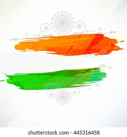 Indian flag tri-color based grunge design with floral frame decorative background on the occasion of Independence Day.