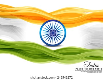 Indian flag wave background vector illustration