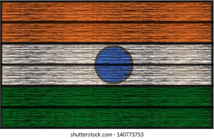 Indian flag in wooden planks that looks ancient. Editable vector design eps 10