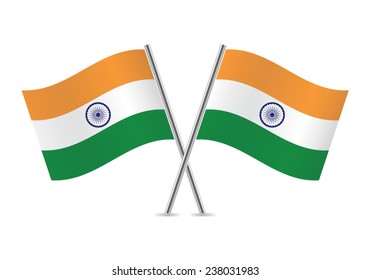 Indian flags. Vector illustration.
