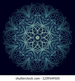 Indian floral mandala pattern.Vector Henna tattoo style. Can be used for textile, greeting card, coloring book, phone case print