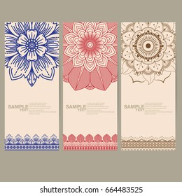 Indian floral paisley medallion banners. Ethnic Mandala emblem ornament. Vector Henna tattoo style. Can be used for textile, greeting card, coloring book, phone case print.