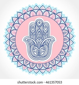 Indian floral paisley medallion pattern. Ethnic hamsa ornament. Vector Henna tattoo style. Can be used for textile, greeting card, coloring book, phone case print.