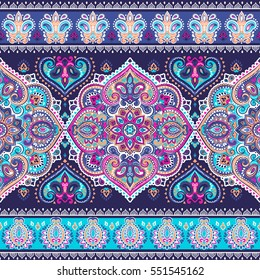Indian floral paisley medallion pattern. Ethnic Mandala ornament. Vector Henna tattoo style. Can be used for textile, greeting card, coloring book, phone case print.