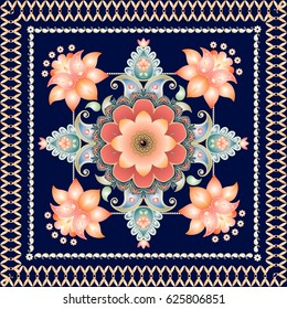 Indian floral paisley medallion pattern. Ethnic bandana print. Carpet, greeting card, ceramic tile, interior and wrapping design.