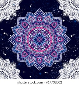Indian floral paisley ornament pattern. Ethnic Mandala towel, yoga mat print. Vector Henna tattoo style. Can be used for textile, greeting business card background, coloring book, phone case