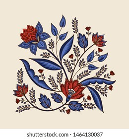 Indian floral paisley pattern vector illustration. Vintage tropical flowers motif chintz print. Ethnic botanical art design. Persian ornament for poster, clothing, label, tattoo template.