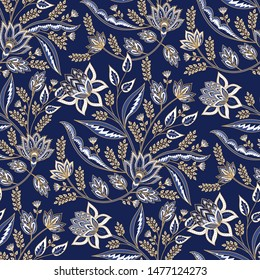 Indian floral paisley pattern vector seamless. Vintage oriental flowers motif print for chintz fabric or batik indonesia sarong. Arabesque design for blanket, wallpaper, rug, textile, clothing.