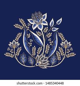 Indian floral paisley pattern vector illustration. Vintage flowers motif chintz print. Ethnic oriental art design. Damask botanical ornament for clothing, label, poster, embroidery, decoration.