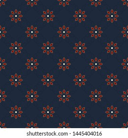 Indian floral pattern elegant oriental design. Octagonal red flowers motif on a navy blue background. Simple symmetrical elements ornament. Allover print block for apparel textile, ladies dress fabric