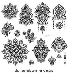 Indian floral set. Ethnic Mandala ornament. Vector Henna tattoo style. Can be used for textile, greeting card, coloring book, phone case print.