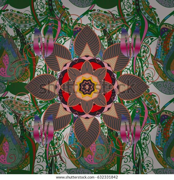 Indian flower mandala. Colorful mandala. Decorative colored round ornament. Anti-stress mandala. Yoga logo, background for meditation poster. Oriental flourish vector.
