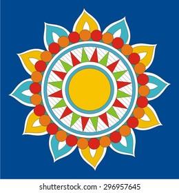 Indian Folk Painting. Madhubani Painting Element