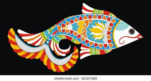 Indian Folk Painting- Madhubani Painting of a fish