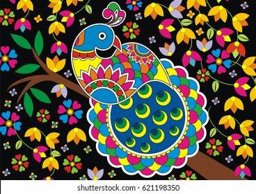 Indian Folk Painting- Madhubani Painting of a Peacock